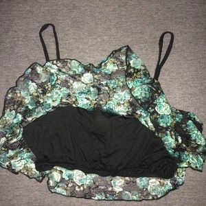Joyce Leslie Tops - Lace overlay crop top size M
